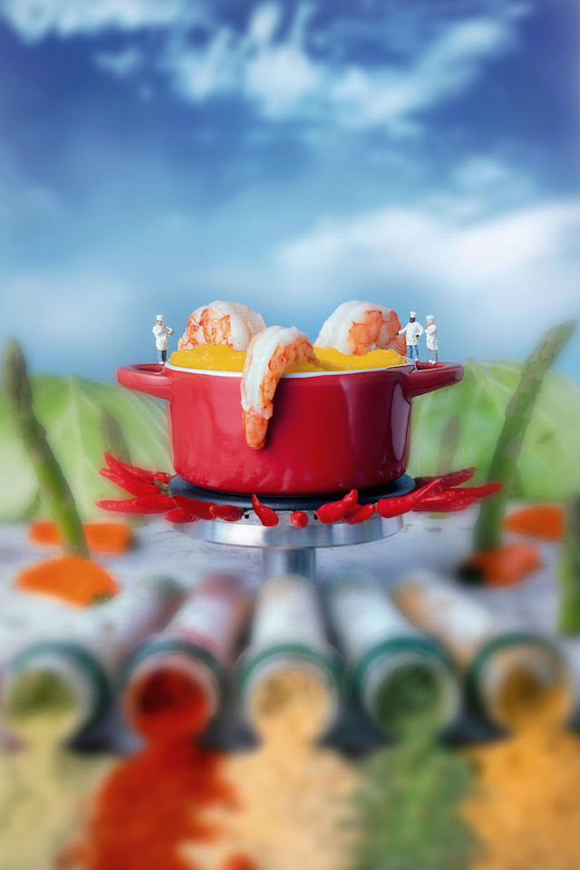 notícia, extra, gourmetice, minimize - food, william klass, série, projeto, fotografia, miniatura, comida