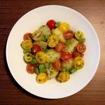 Salada Rápida de Batata, Tomate Uva e Vagem