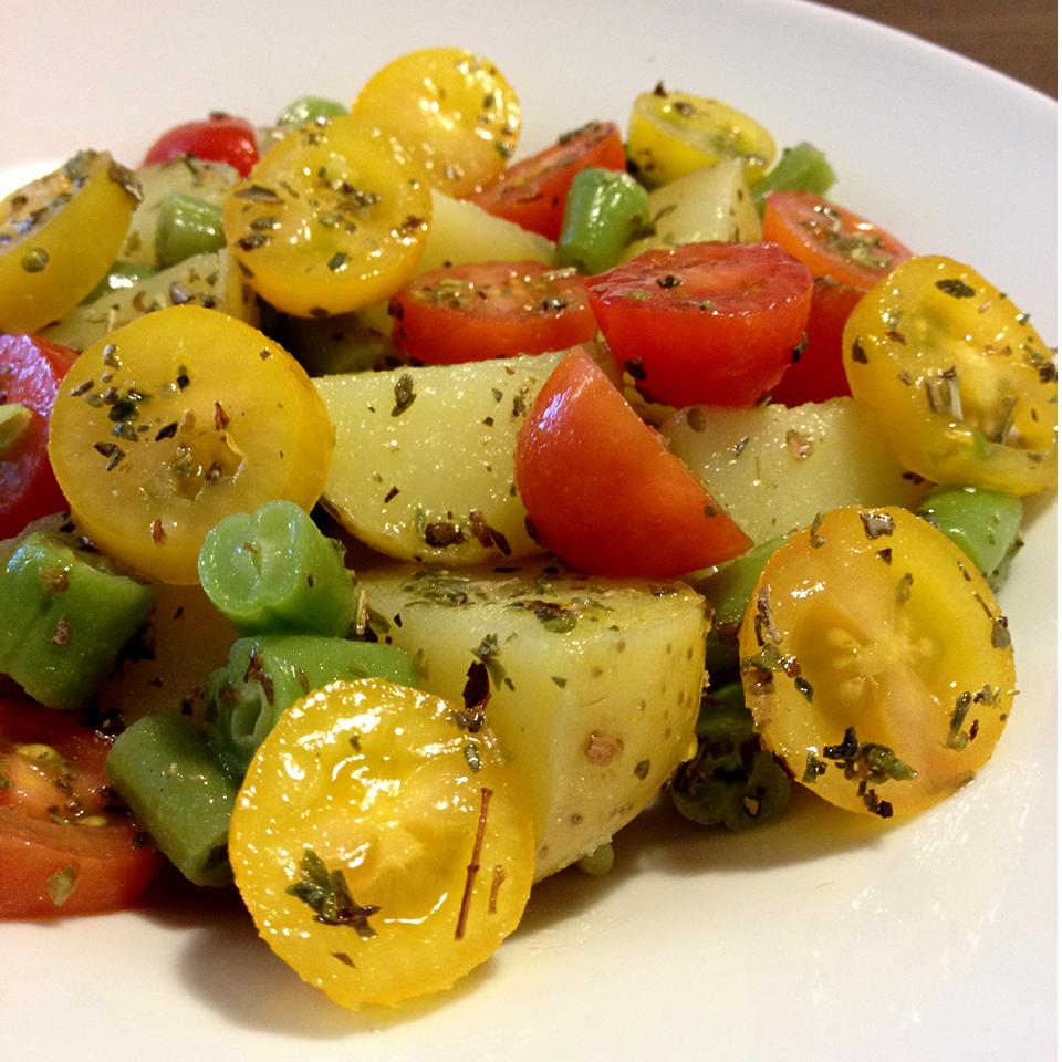 receita, gourmetice, leve, rápida, fácil, salada, batata, tomate uva, vagem