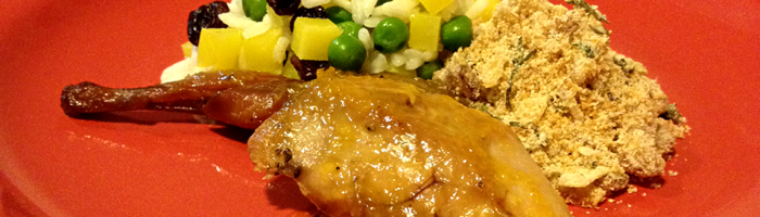 receita, gourmetice, ceia de natal, natal, codornas, molho de laranja, arroz à grega, farofa, bacon
