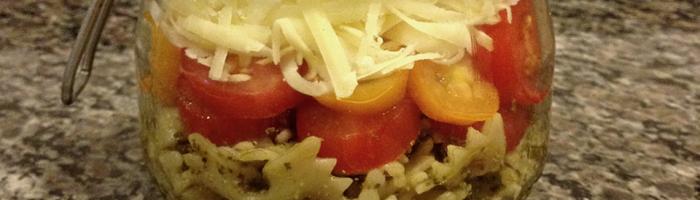 receita, gourmetice, salada, pra levar, farfalle, pesto, tomate cereja, provolone
