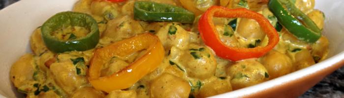 receita, gourmetice, grão de bico, leite de coco, curry, páprica, coentro
