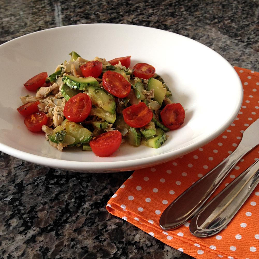 receita, gourmetice, abobrinha, zucchini, tomate cereja, gratinados, frango, panela de pressão