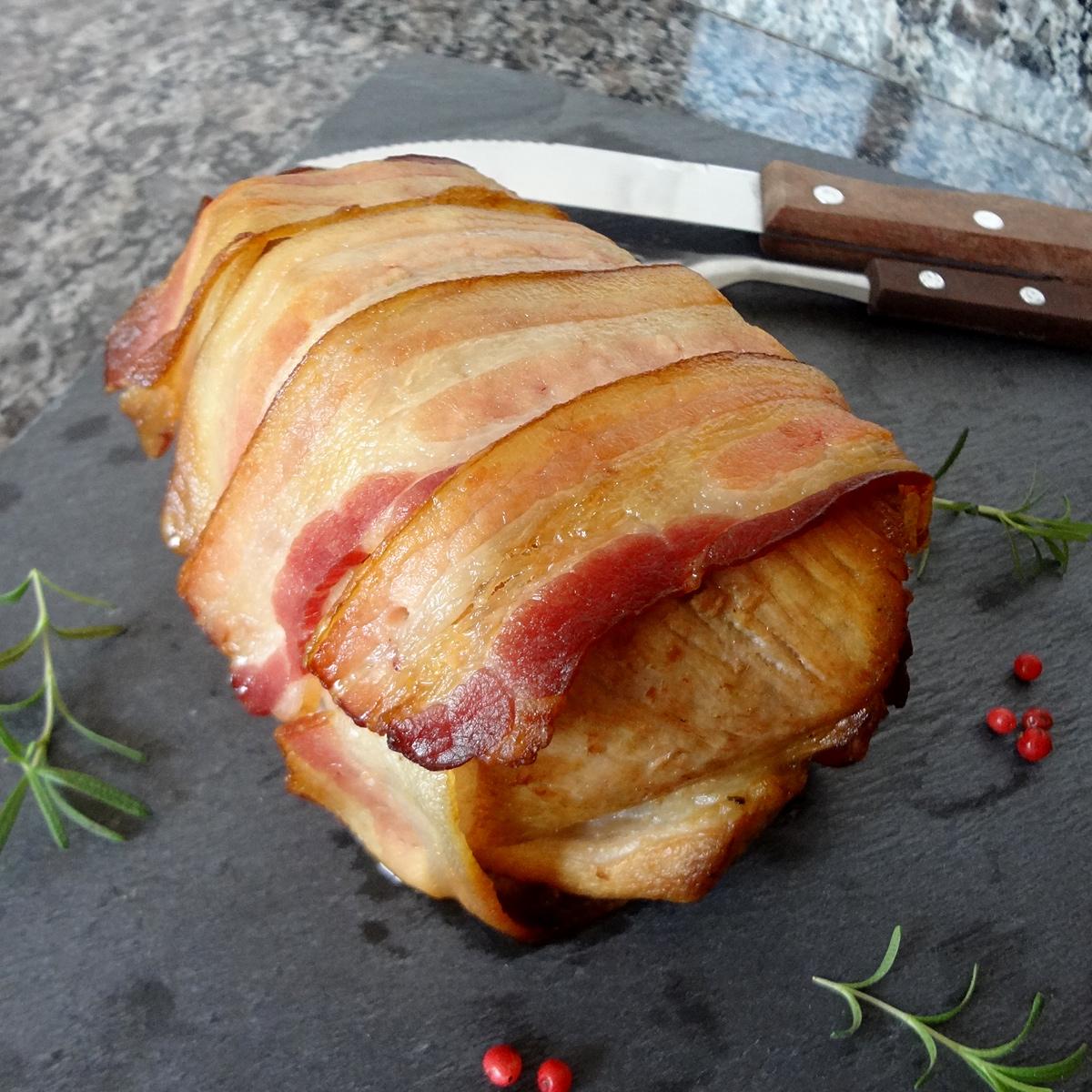 receita, gourmetice, lombo, porco, suíno, assado, bacon