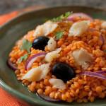 Salada de Lentilha Vermelha com Bacalhau