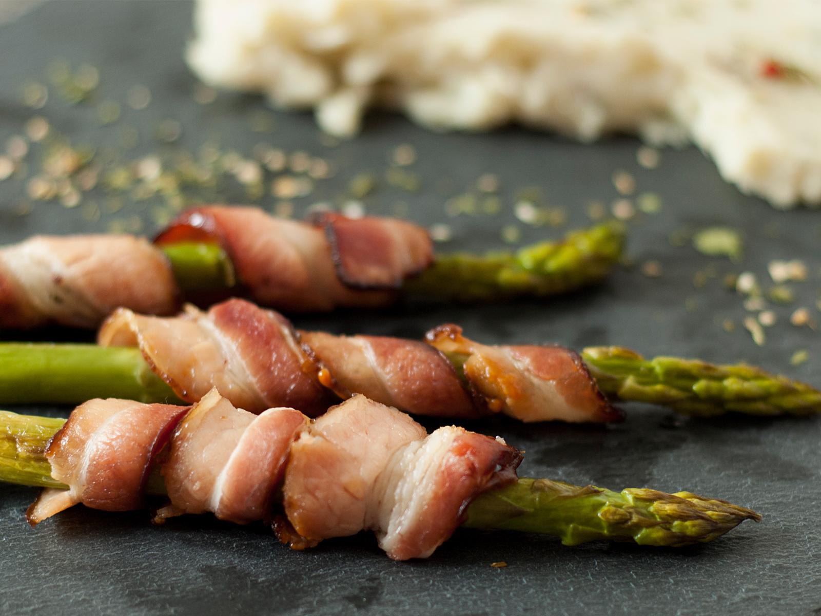 receita, gourmetice, purê, batata doce, aspargos, bacon