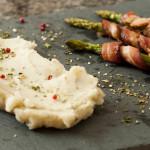 Purê Rústico de Batata Doce e Aspargos com Bacon